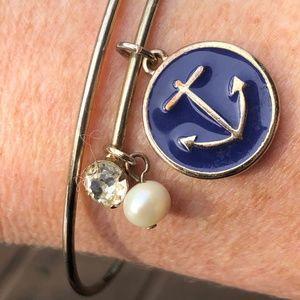 Anchor pearl rhinestone charm bracelet Delta Gamma